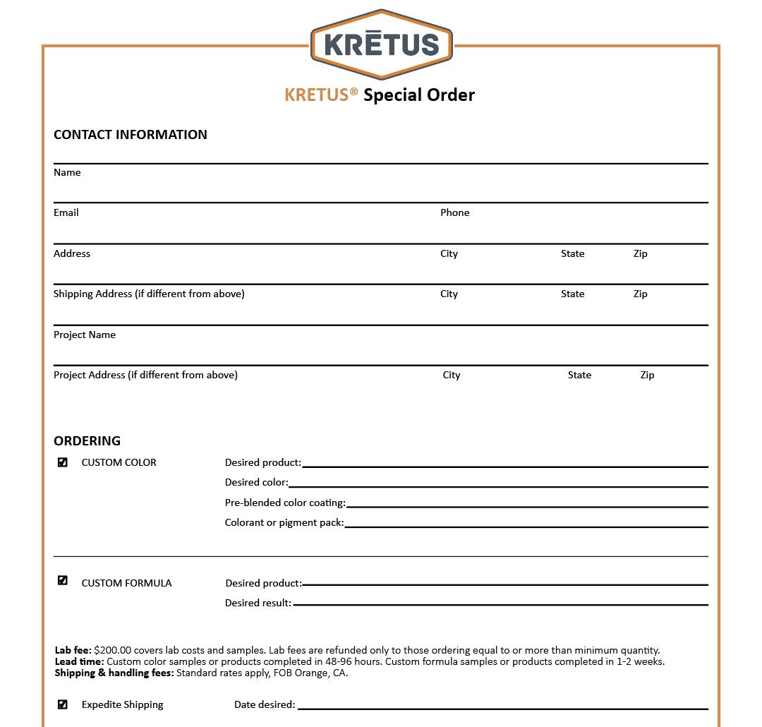 Special Order Form – Kretus on complaint form sample, admission form sample, company profile sample, privacy policy sample, enquiry form sample, registration form sample, feedback form sample, contact information form sample,